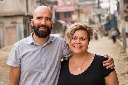 Preston and Mirjam Thiessen on a street in Nepal