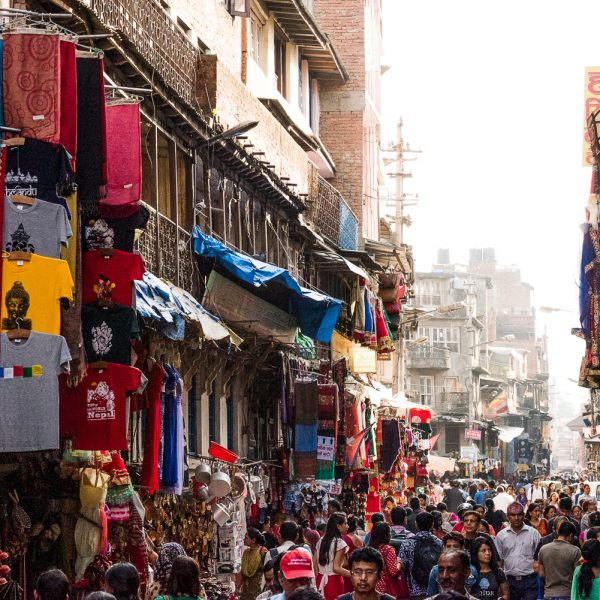 Crowded street in Nepal